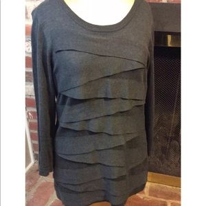 Vince Camuto Gray Scoop Neck Ribbon Trim Sweater